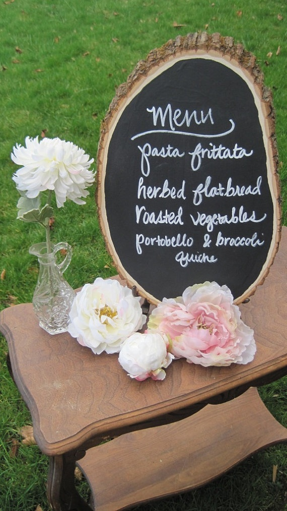 Chalkboard Sign L Wood Slice by thisfineday on Etsy, $28.00