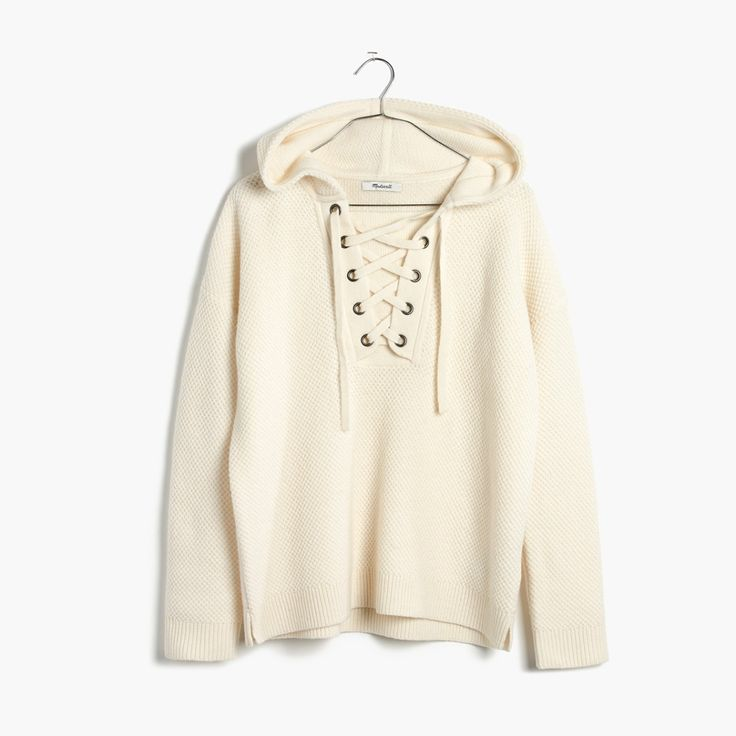 madewell lace-up hoodie sweater.