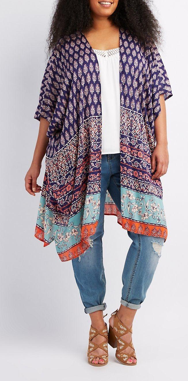 Plus Size Border Print Duster Kimono
