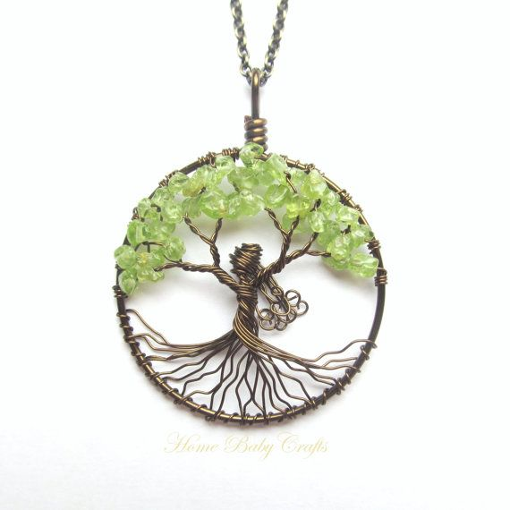 The Goddess of Nature- Wire Tree of Life Necklace in Antique Brass, Customizable, Green, Earth, Mother Nature
