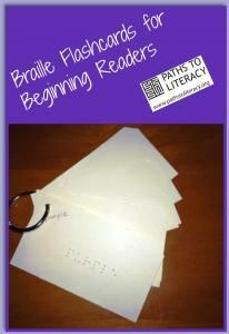 Braille flashcards for beginning readers