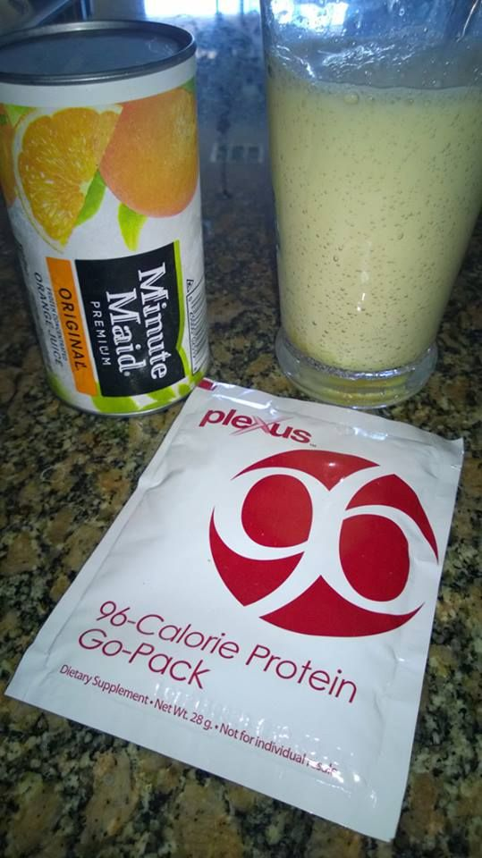 "Dreamsicle shake. Only 96 calories!! 1 packet of vanilla Plexus 96 1 heaping Tbsp. orange juice concentrate (or 3-4 Tbsp. orange juice) 8 oz. 2% milk (Vanilla Almond Milk or ""milk"" of your choice) Stir it, Mix it, Shake it, or Blend it with ice! It's cool, creamy and helps control hunger cravings. Don't starve yourself, take a packet with you to make a healthy snack at work. order here: http://hwright.myplexusproducts.com"
