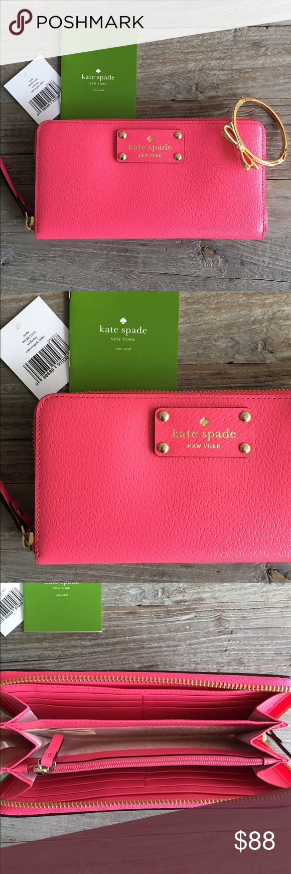 NWT Kate Spade Leather Wallet  Brand new with tag Kate Spade Wallet in cabaret pink! Gorgeous! No trades or negotiating in comments. Bracelet sold separately. All items in my closet are authentic guaranteed. kate spade Bags Wallets