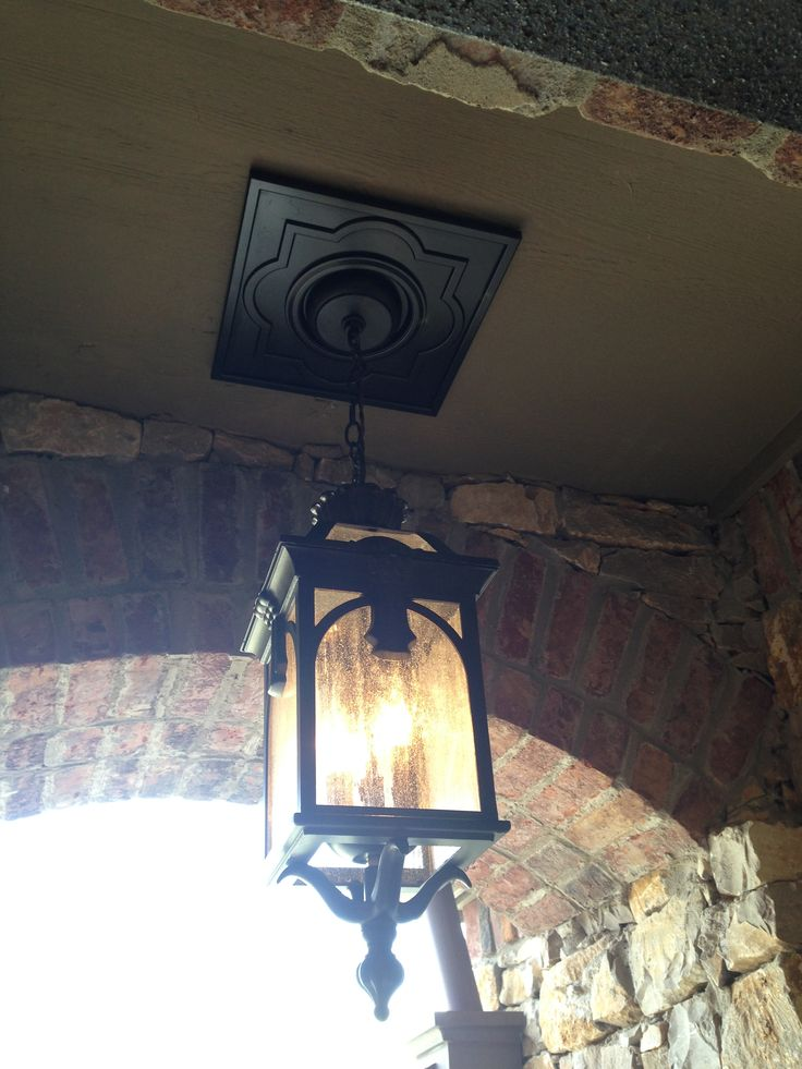Outdoor Pendant Light With Square Ceiling Medallion
