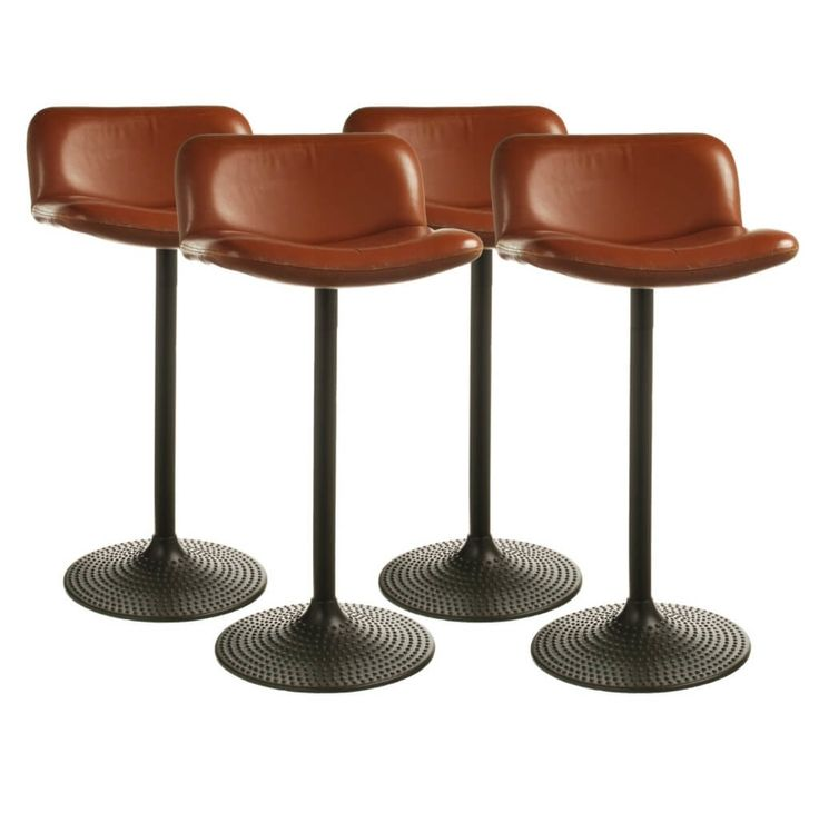 Unique Brown Leather Swivel Bar Stool Cushion Seat