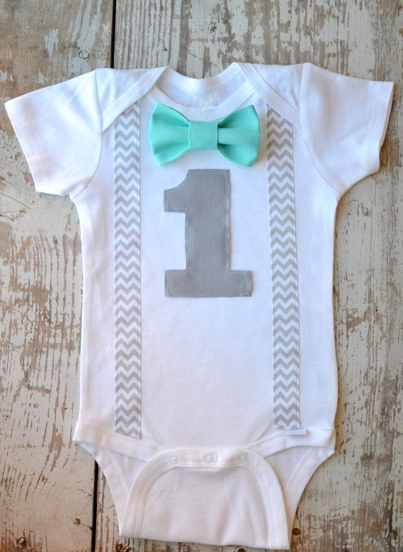 Boys First Birthday Outfit Baby Boy Clothes Gray by ABeagleandaBoy