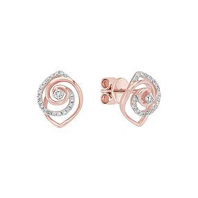 Round Diamond Earrings in Two-Tone Gold