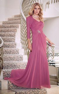 Classic Ethereal V-neck Soft-ruched Beaded Draping A-ling Formal Train Dress