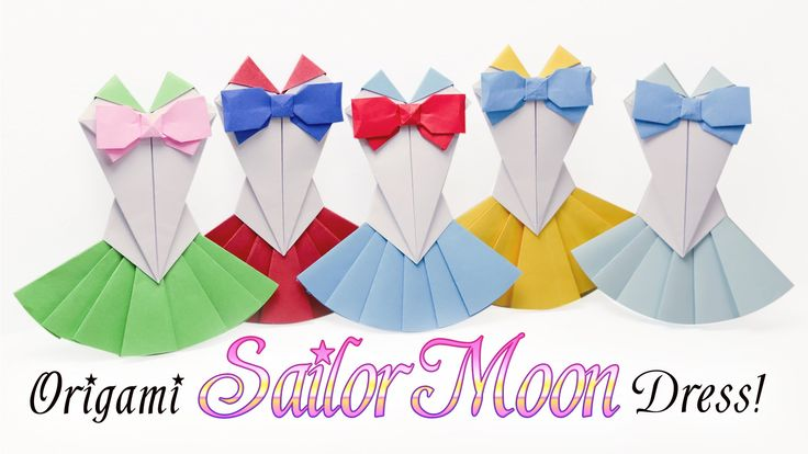 Learn how too make a pretty origami sailor moon dress! Make them in different colour combinations  ⬇ more info ⬇ I saw some origami sailor moon outfits on p...