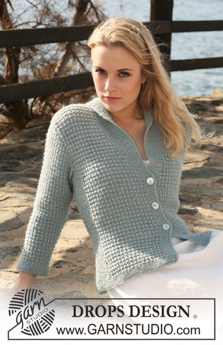"""Knitted DROPS jacket with textured pattern and collar in 2 threads """"Alpaca"""". Size S - XXXL. ~ DROPS Design"""
