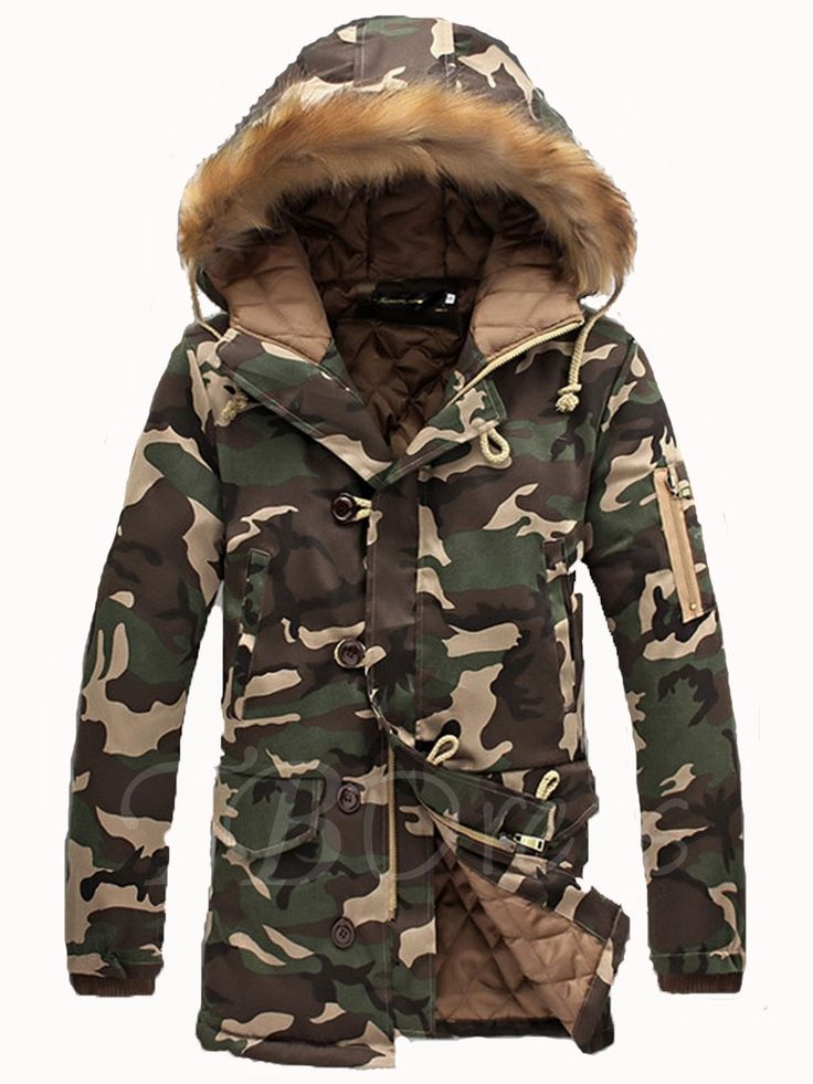 Tbdress.com offers high quality Fur Collar Hooded Camouflage Thicken Warm Down Men's Quilted Coat Men's Coats unit price of $ 37.99.