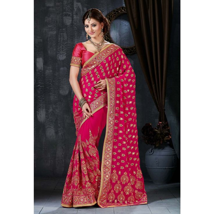 Urvashi Rautela Pink Georgette #Saree With Blouse- $95.96
