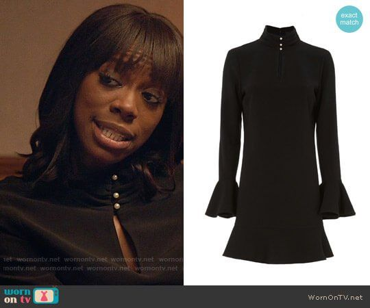 Molly's black keyhole dress with pearl buttons on Insecure.  Outfit Details: https://wornontv.net/78137/ #Insecure