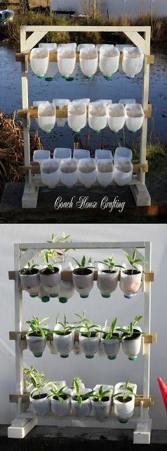 Vertical Garden Using Plastic Milk Bottles