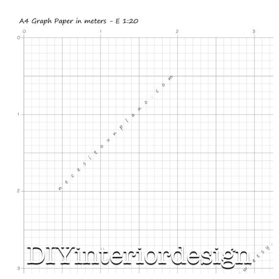 Graph paper template grid in meters a4 diy floor plan for for Room design template grid