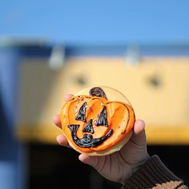 I'm headed to Anoka, the Halloween Capital of the World, to bring you all the haunted State Hospital, a stamp unveiling, and the history of Halloween in its small town celebration origination, but first, pumpkin cookies!  This one is from Denny's 5th Avenue Bakery. A family owned place since 1969, they are a fun little store front with elaborate treats (I love their puppy chow!), breads, cakes, donuts and a wholesaler. Have you been here? What are you doing to celebrate this spooky holiday?