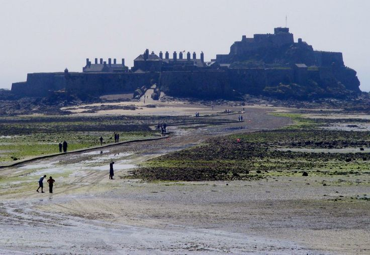 Elizabeth Castle in Jersey where at low tide you can walk over... and then swim back ;-)