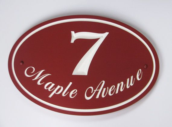 Oval Address Sign  Painted Wood House Number by RCOriginalsGallery