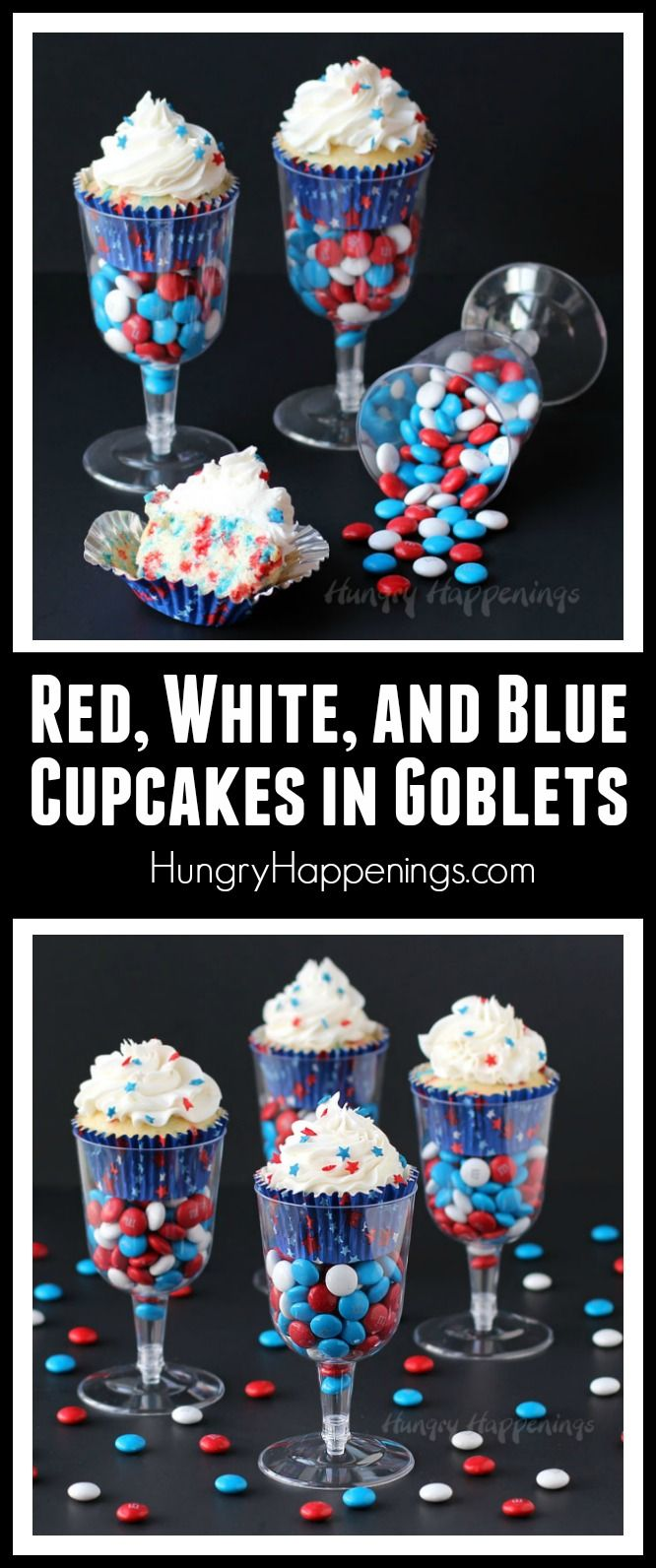 Fill wine goblets or champagne flutes with red, white and blue candy then top it off with a festively decorated funfetti red, white, and blue cupcake to serve to 4th of July, Memorial Day, Veterans Day, Labor Day or any day.