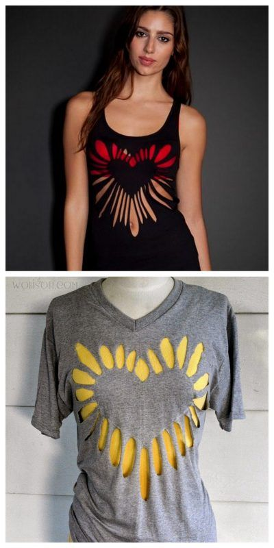 Heart Shirt Cut-Out Simple no-sew way to creatively transform an old t-shirt.
