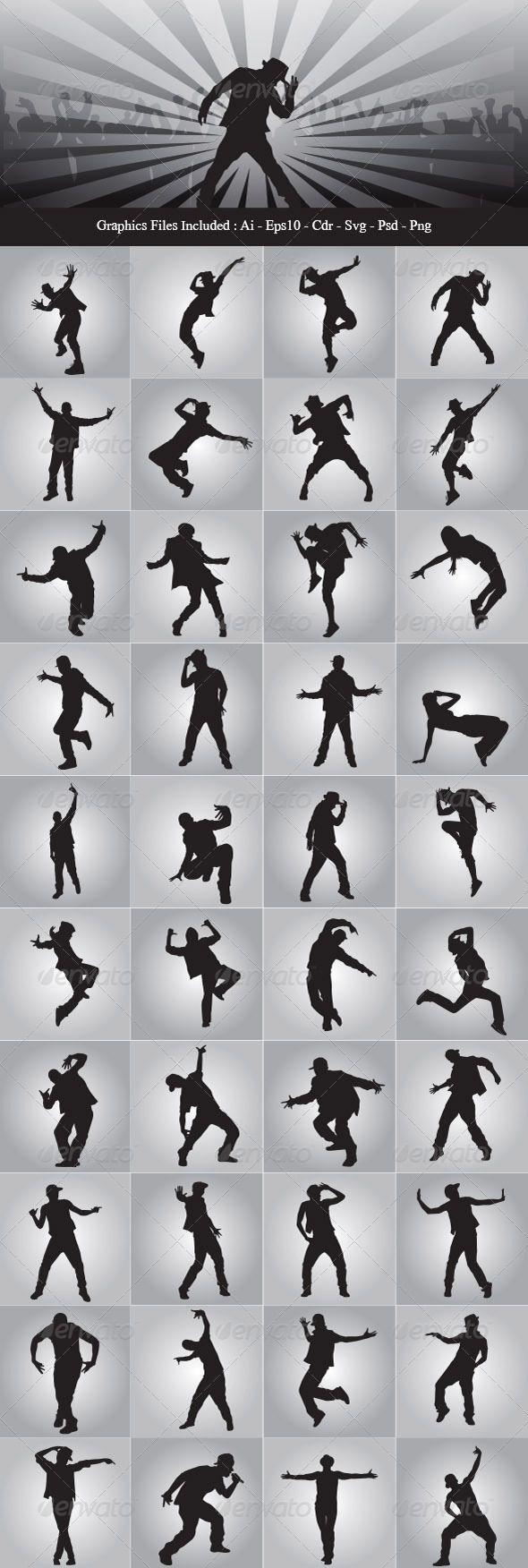 Hip Hop Dancer Silhouettes  #graphicriver