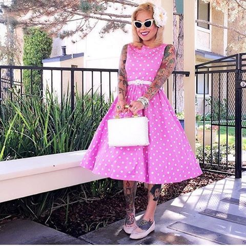 💗 @micheletigerlily 💗 looking beautiful in our Audrey Pink Polka Dot Vintage 1950s swing dress 💕 #lindyboplove #vintageinspired #vintage #polkadots #audrey #retro #pinup #cute