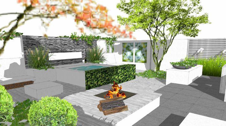 16 beste afbeeldingen van sketch up tuinontwerpen groene for Moderne tuin met jacuzzi