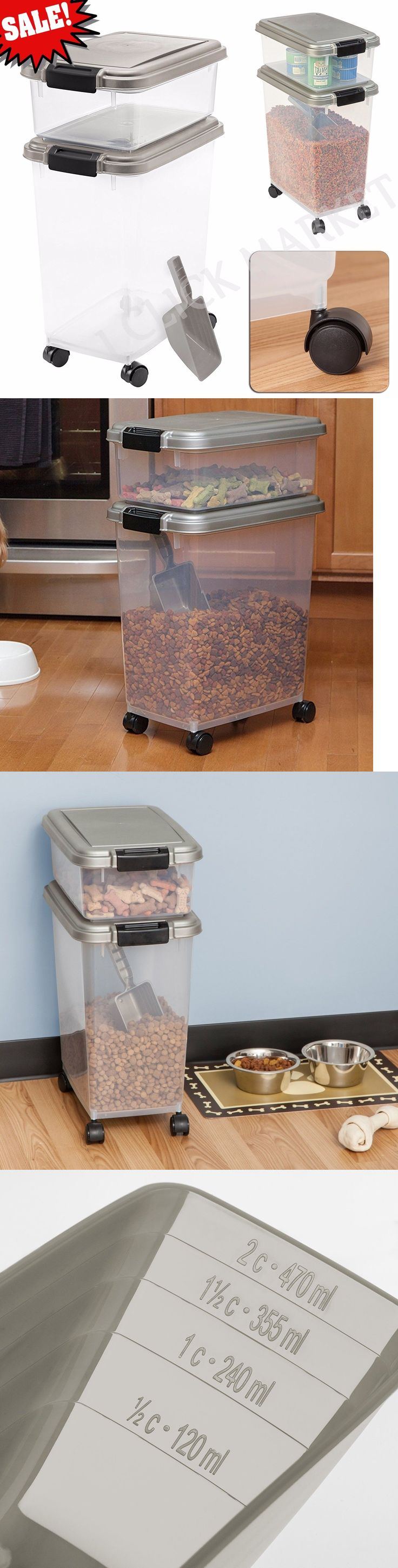Dishes Feeders and Fountains 177789: Dog Food Container Cat Pet Feeder Storage Airtight Bin Rolling Wheels Box Combo -> BUY IT NOW ONLY: $33.51 on eBay!