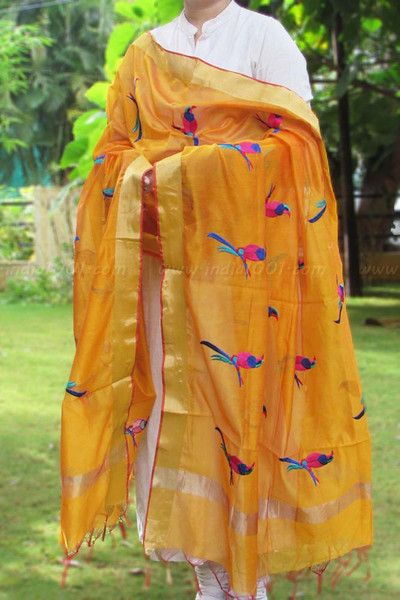 Beautiful Chanderi Dupatta with embroidery