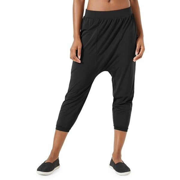 MPG Women's Decipher Cropped Jogger Pants featuring polyvore, women's fashion, clothing, pants, capris, black, cropped trousers, cropped jogging pants, stretch waist pants, drop crotch pants and relaxed pants