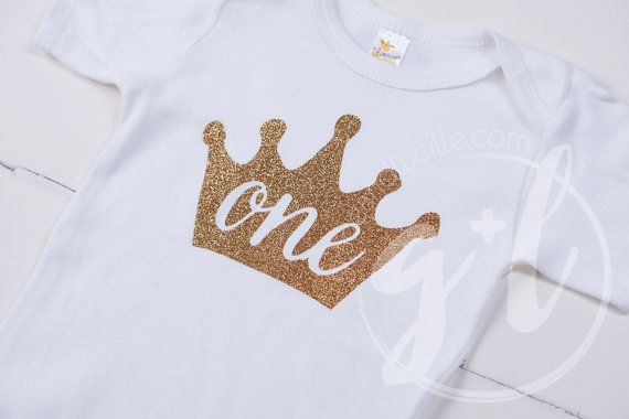 First Birthday outfit Gold One crown for Baby Girls or