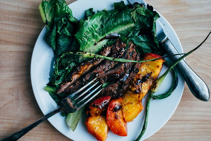grilled steak salad with garlic scapes and peaches (recipe) / by brooklyn supper