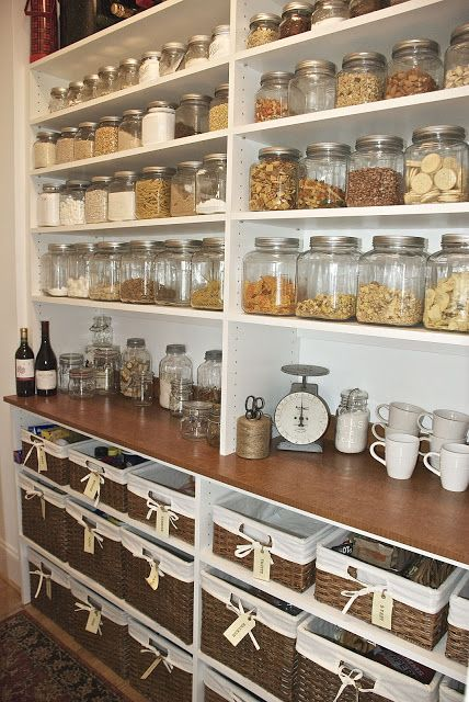 {the vintage wren} LOVE the simplistic shelving in this pantry... the glass jars and baskets really make it. & I have already a large collection of jars (tick) & a growing collection of wicker baskets (tick)...