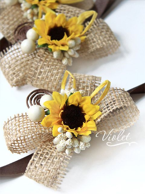 Rustic Sunflower Wedding Corsages Set of 3, Handmade Bridesmaids Sunflower Burlap Bracelets, Sunflower Brown Wedding Bridal Girl Accessories by VioletInvitations on Etsy
