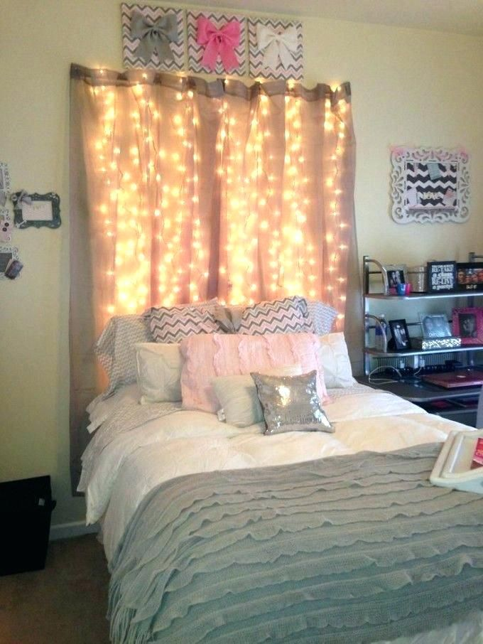 Sheer Curtains Over Bed Over The Bed Lamp Lighted Backdrop Behind Bed Girly Dorm Room Idea Sheer Curtains Over Hangin Girl Bedroom Designs Girl Room Room Decor
