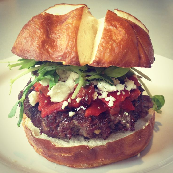 We love the beautiful colours on this goat cheese burger.