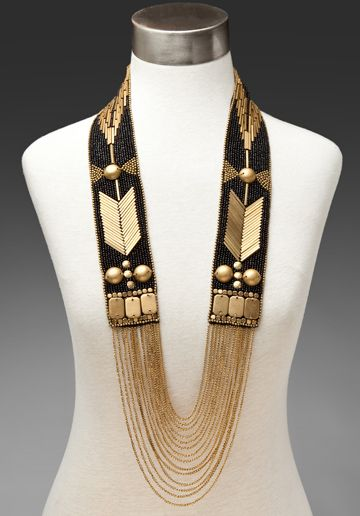 'Torni' necklace by Fiona Paxton (UK). Bead and sequin embroidery with chain swags.