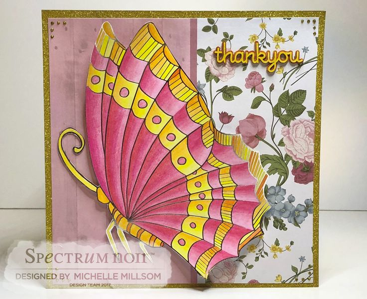8 X 8 Tent Fold Card Designed by Michelle Millsom. Colourista A4 Foiled Pad - Butterfly Garden. Colourista Pencils - All Packs.