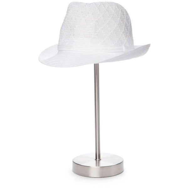Collection Xiix White Color Expansion Fedora Hat ($17) ❤ liked on Polyvore featuring accessories, hats, white, collection xiix, white fedora, fedora hat, white hat and white fedora hat