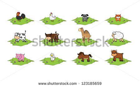 Farm animal grass land set