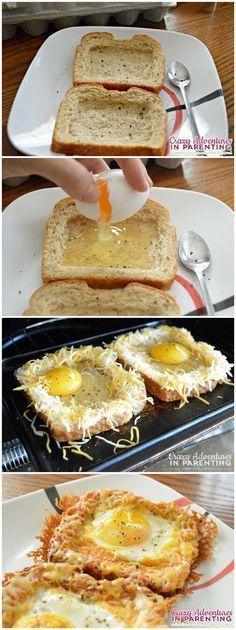 Cheesy Baked Egg Toast  http://crazyadventuresinparenting.com/2014/06/cheesy-baked-egg-toast.html