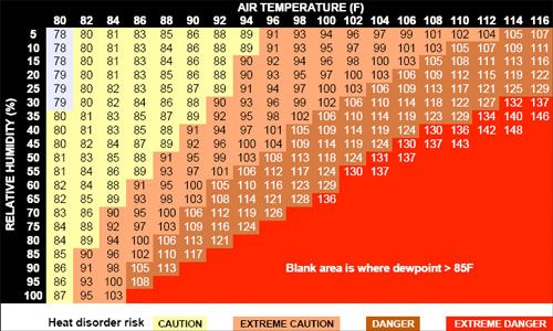 Heat Index Chart.  I grew up in the south where it was regularly in the mid-90s with 85% relative humidity in the summers.  That feels so hot it's not even on the chart!