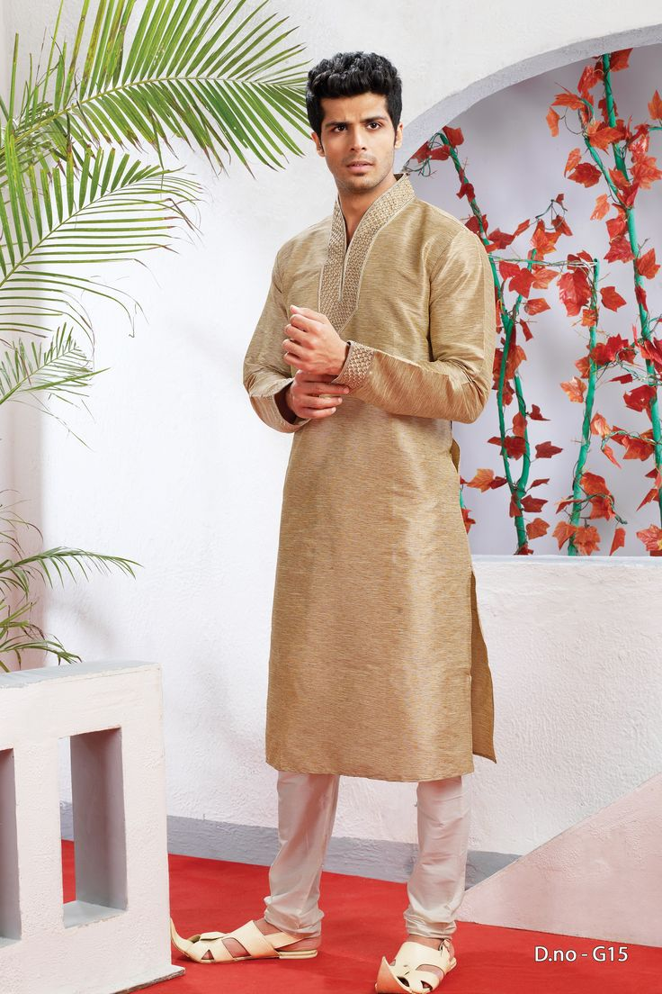 Beige poly dupion readymade kurta with Payjama  http://www.silk-india.com/en/82-kurta-pajama 38.31$  Now, place your Order now : Email:- raksha@silk-india.com