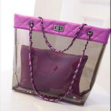 2016 yeni moda vahşi resim paketi su geçirmez şeffaf jöle çanta plaj çantası kristal çanta Omuz Messenger zinciri ZS452(China (Mainland))