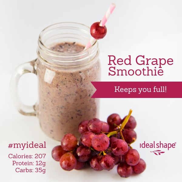 Red Grape Smoothie: 1 scoop vanilla IdealShake mix, 8 oz water, 1 cup red grapes, 1/2 pear, 1/4 cup blueberries, add ice and blend.