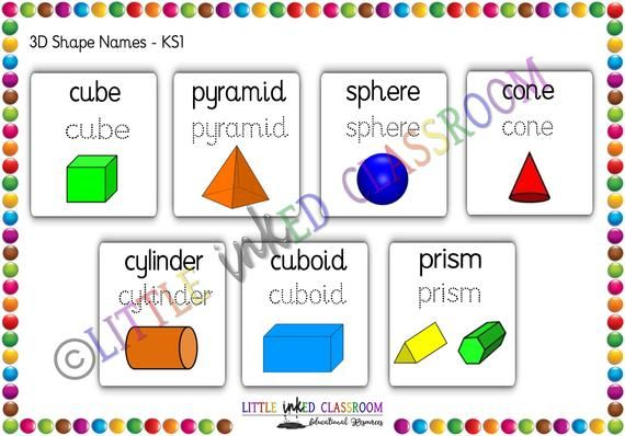 Early Years 2d 3d Shapes Shape Names Printable Educational Etsy 2d And 3d Shapes Shape Names 3d Shapes Names