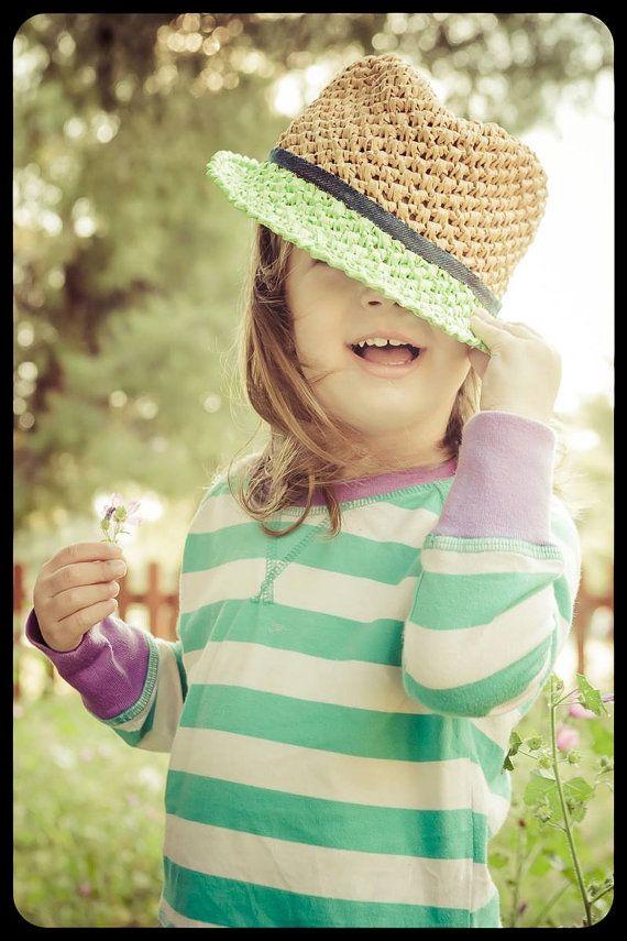 Kid's hat, raffia crochet hat, summer hat, fedora style hat