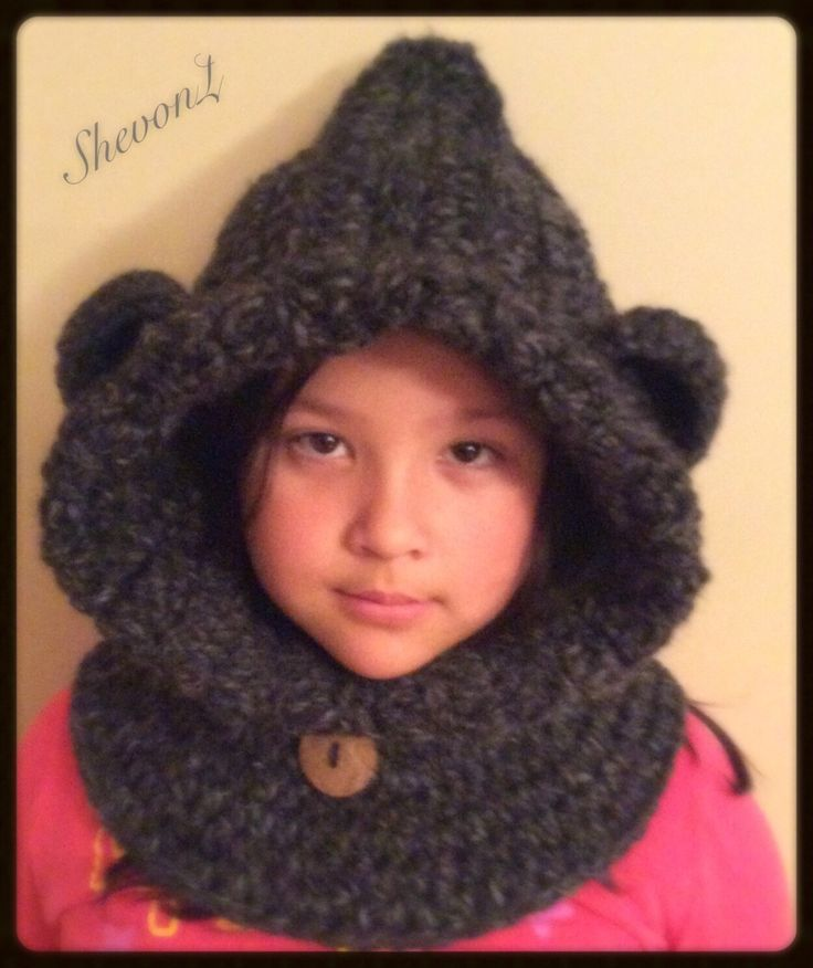 Bear Cowl in Charcoal (Toddler, Child, and adult size). by ShevonL on Etsy https://www.etsy.com/listing/211116932/bear-cowl-in-charcoal-toddler-child-and