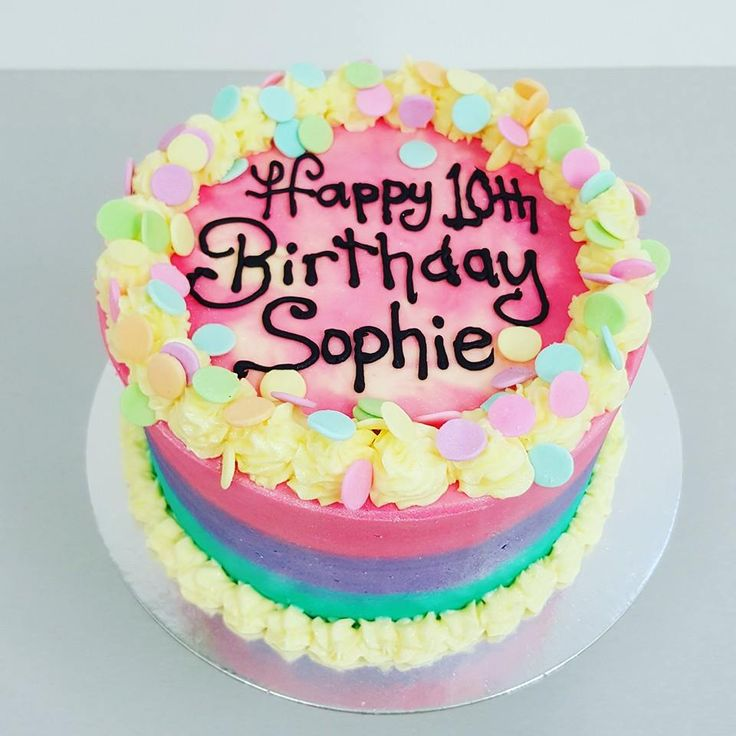 Smooth three colour cake with large confetti sprinkles