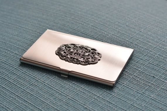Silver Tone Business Card Case With Filigree Stamping Etsy Business Card Case Metal Card Holder Silver Tone